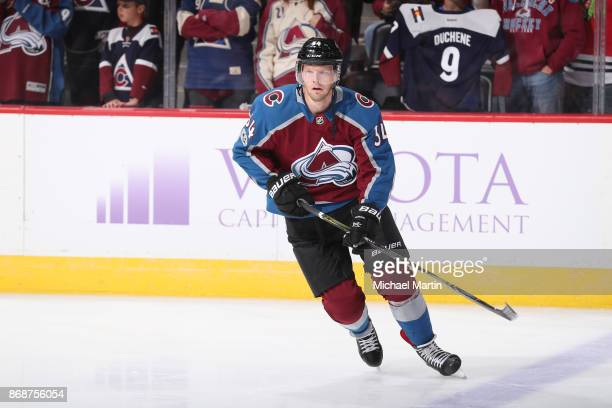 Carl Soderberg of the Colorado Avalanche skates against the Chicago Blackhawks at the Pepsi Center on October 28 2017 in Denver Colorado The...