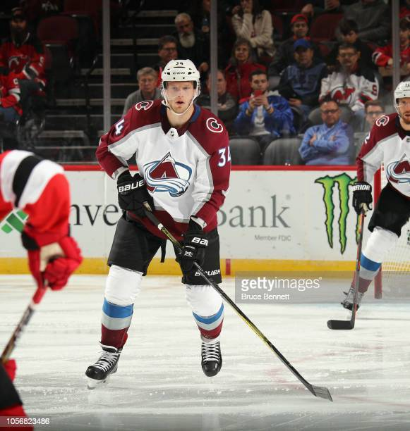 Carl Soderberg of the Colorado Avalanche skates against the New Jersey Devils at the Prudential Center on October 18 2018 in Newark New Jersey The...