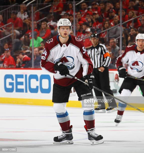 Carl Soderberg of the Colorado Avalanche skates against the New Jersey Devils at the Prudential Center on October 7 2017 in Newark New Jersey