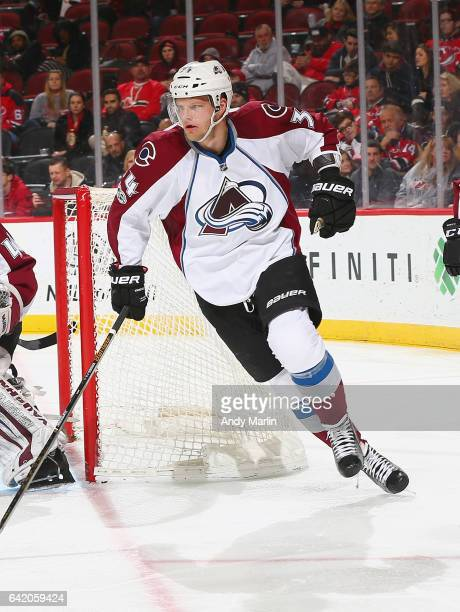 Carl Soderberg of the Colorado Avalanche skates against the New Jersey Devils during the game at Prudential Center on February 14 2017 in Newark New...