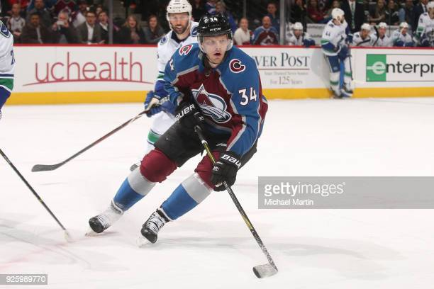 Carl Soderberg of the Colorado Avalanche skates against the Vancouver Canucks at the Pepsi Center on February 26 2018 in Denver Colorado The...