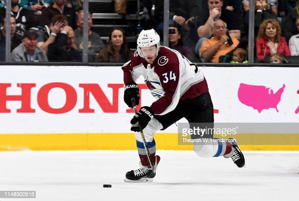 Carl Soderberg of the Colorado Avalanche skates up ice with control of the puck against the San Jose Sharks during the first period of Game Seven of...