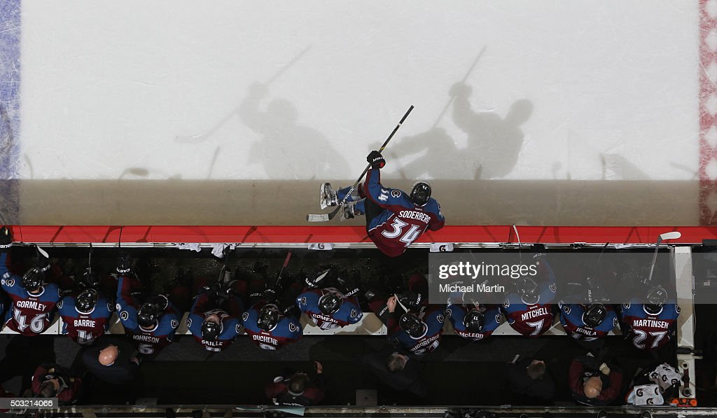 Carl Soderberg #34 of the Colorado Avalanche takes to the ice against the Calgary Flames at the Pepsi Center on January 2, 2016 in Denver, Colorado. The Flames defeated the Avalanche 4-0.