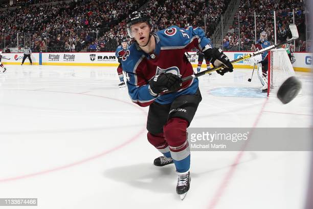 Carl Soderberg of the Colorado Avalanche watches a loose puck against the Arizona Coyotes at the Pepsi Center on March 29 2019 in Denver Colorado