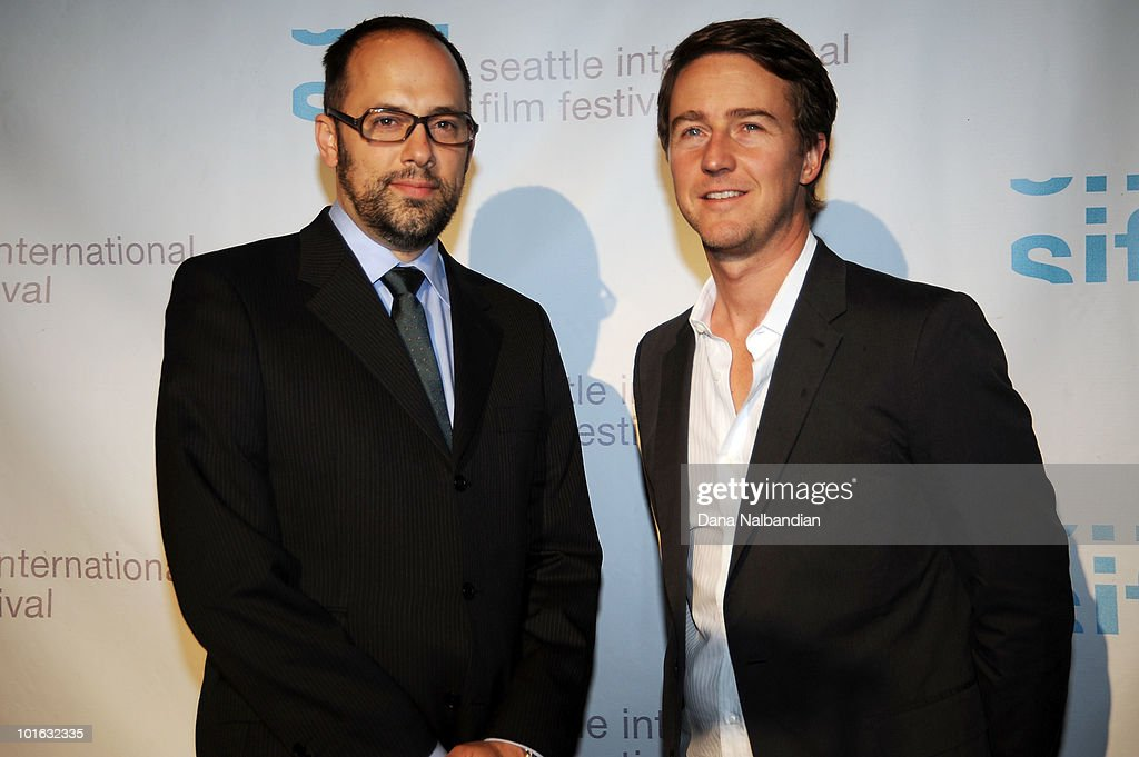 Carl Spence and Ed Norton at the Egyptian Theater, Seattle on June 4, 2010 in Seattle, Washington.