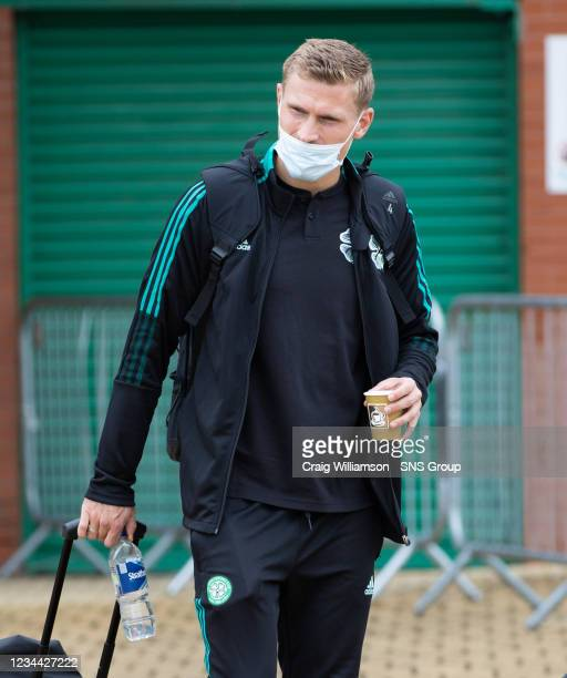 Carl Starfelt is pictured as Celtic depart for their Europa League tie against Jablonec, at Celtic Park, on August 03 in Glasgow, Scotland.