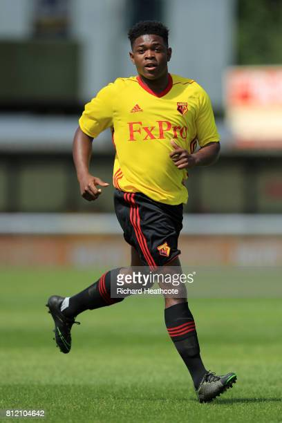 Carl Stewart of Watford in action during the preseason friendly match between Woking and Watford U23 at the Laithwaite Community Stadium on July 08...