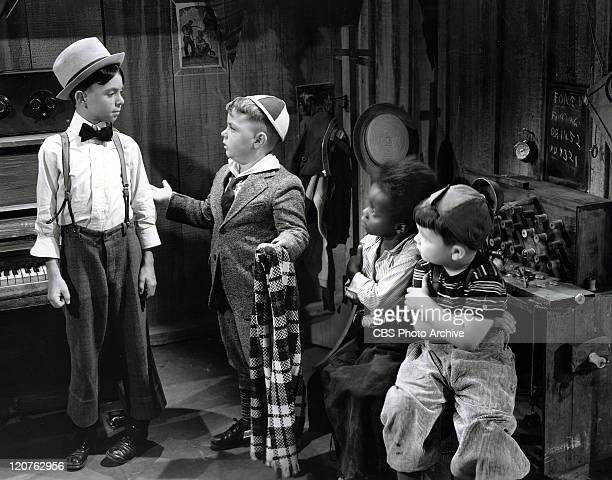 Carl Switzer as Alfalfa George McFarland as Spanky Billie Thomas as Buckwheat and Eugene Lee as Porky in 'Framing Youth' one of The Our Gang series...