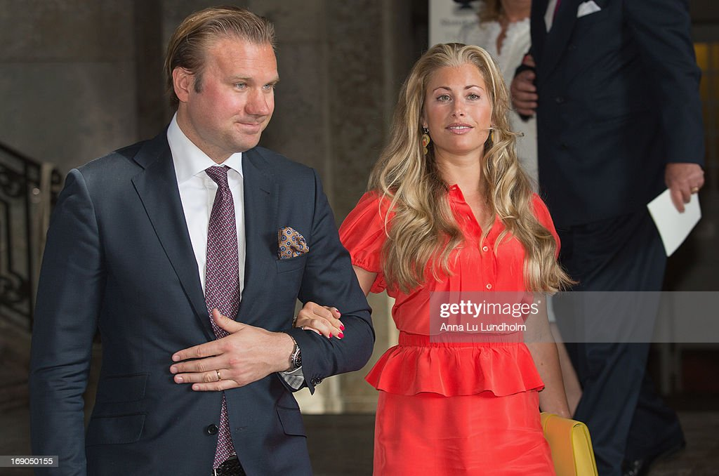 Carl Tham and Elinore Sylwander Tham visits the Wedding Preparations for H.K.H. Princess Madeleine and Mr. Christopher O'Neill on May 19, 2013 in Stockholm, Sweden.
