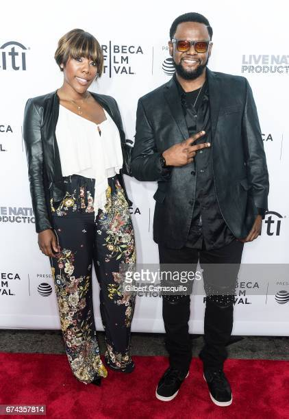 Carl Thomas and guest attend the 'Can't Stop Won't Stop The Bad Boy Story' Premiere at Beacon Theatre on April 27 2017 in New York City