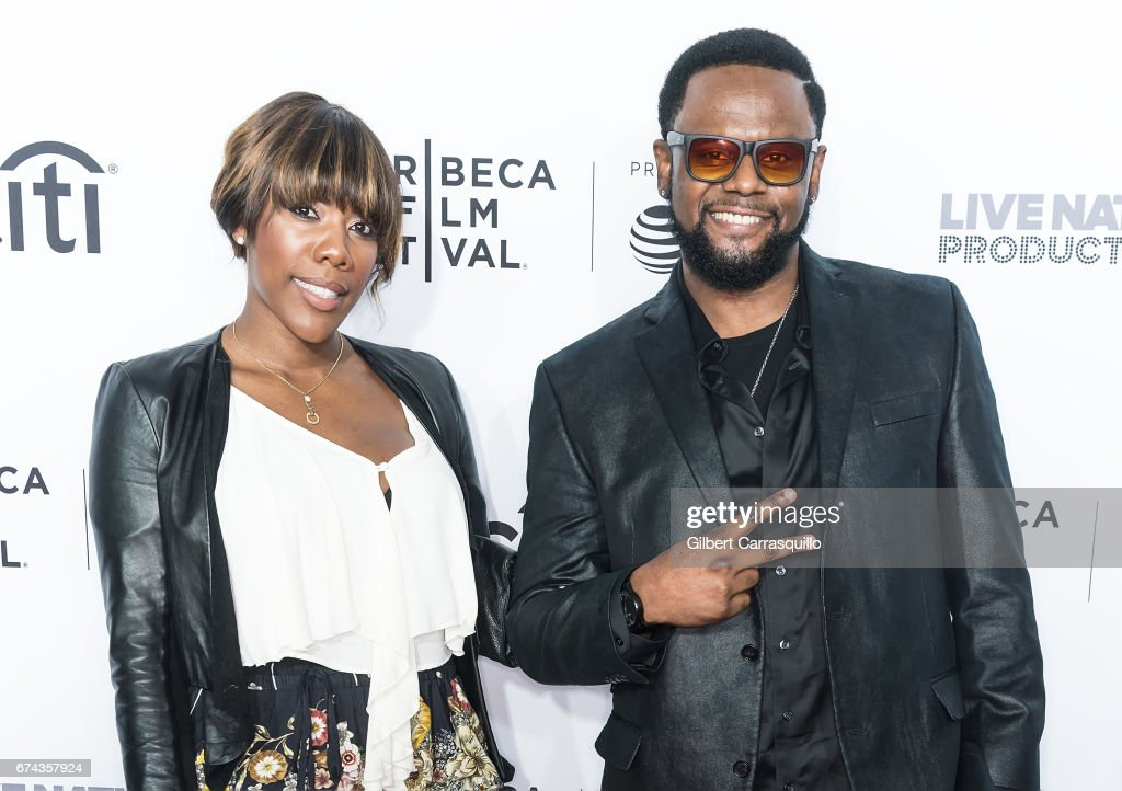 Carl Thomas (R) and guest attend the 'Can't Stop, Won't Stop: The Bad Boy Story' Premiere at Beacon Theatre on April 27, 2017 in New York City.
