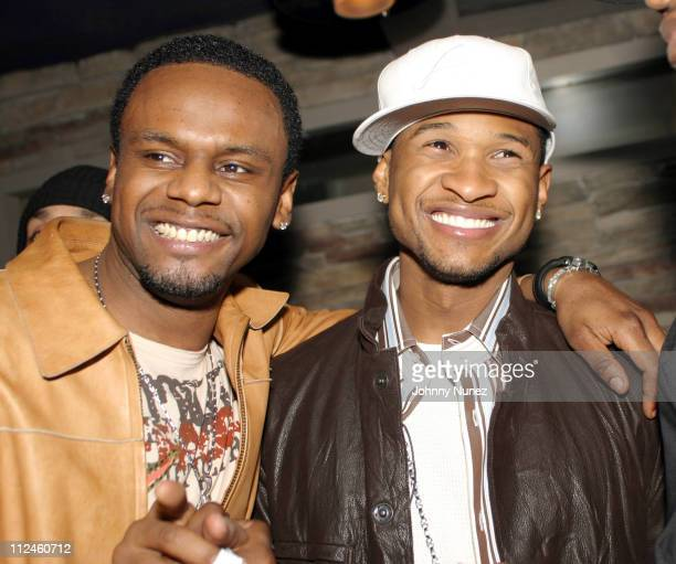 Carl Thomas and Usher during Usher's Confessions Album Release Party at Boulevard in New York City New York United States