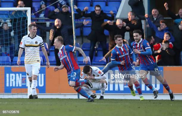 Carl Tremarco of Inverness Caledonian Thistle celebrate scoring the only goal of the game during the IRNBRU Scottish Challenge Cup Final between...
