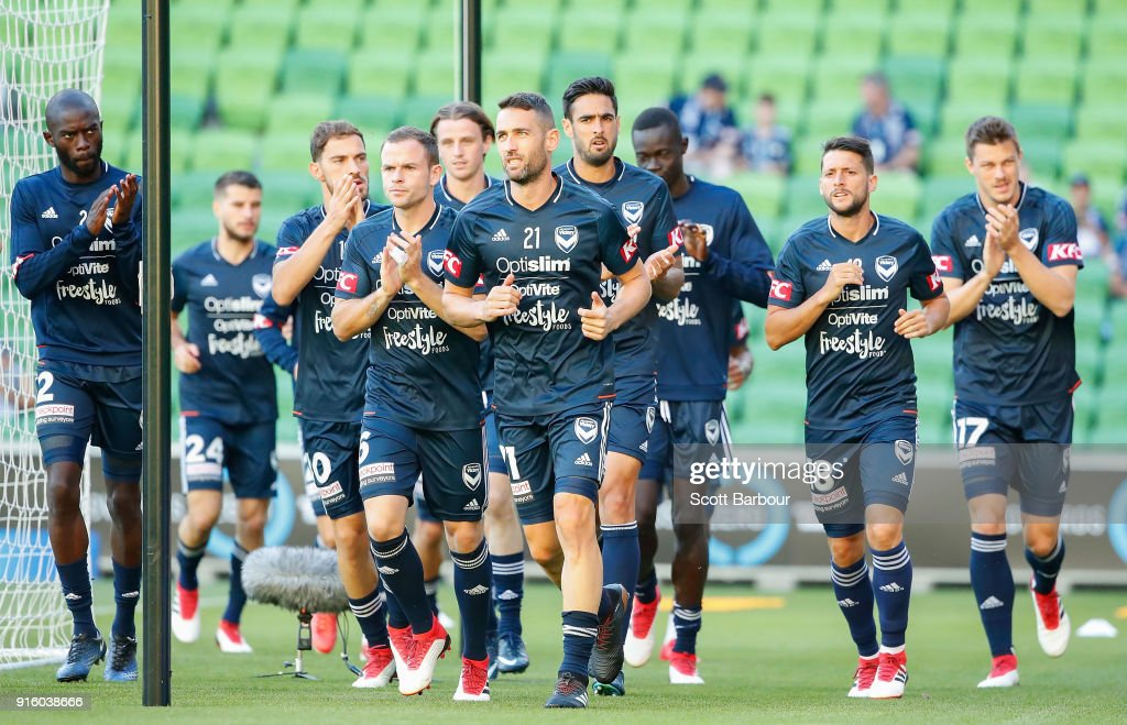 Carl Valeri and Victory players warm up during the round 20 A-League match between the Melbourne Victory and the Brisbane Roar at AAMI Park on February 9, 2018 in Melbourne, Australia.