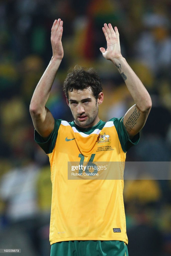 Carl Valeri of Australia applauds fans after the 2010 FIFA World Cup South Africa Group D match between Ghana and Australia at the Royal Bafokeng Stadium on June 19, 2010 in Rustenburg, South Africa.