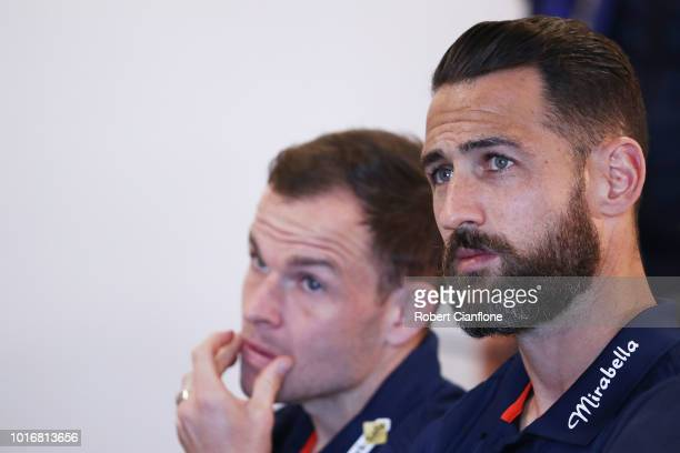 Carl Valeri of the Victory attends a Melbourne Victory ALeague press conference at AAMI Park on August 15 2018 in Melbourne Australia The Japanese...