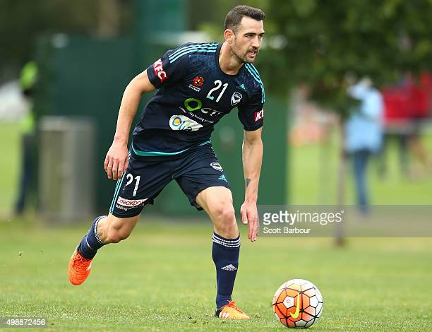 Carl Valeri of the Victory controls the ball during a Melbourne Victory ALeague training session at AAMI Park on November 27 2015 in Melbourne...