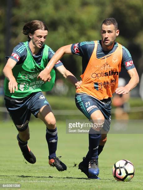 Carl Valeri of the Victory controls the ball during a Melbourne Victory ALeague training session at Gosch's Paddock on March 8 2017 in Melbourne...