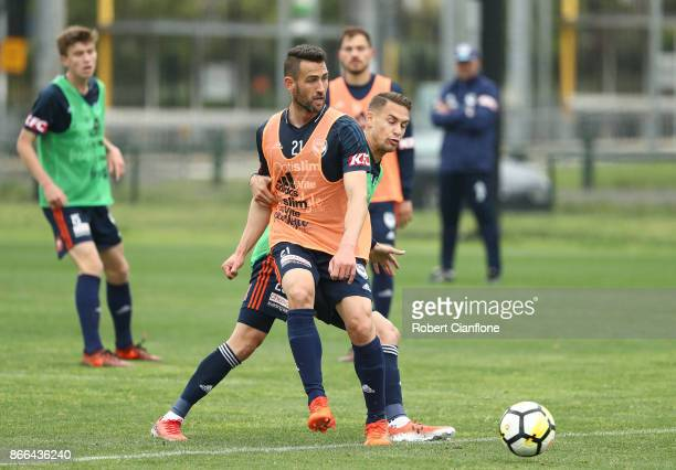 Carl Valeri of the Victory controls the ball during a Melbourne Victory ALeague training session at Gosch's Paddock on October 26 2017 in Melbourne...
