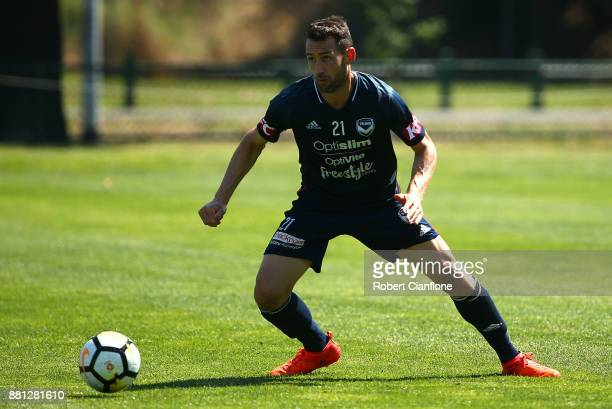 Carl Valeri of the Victory controls the ball during a Melbourne Victory ALeague training session at Gosch's Paddock on November 29 2017 in Melbourne...