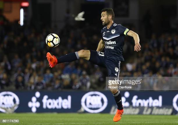 Carl Valeri of the Victory controls the ball during the round two ALeague match between Melbourne Victory and Melbourne City FC at Etihad Stadium on...