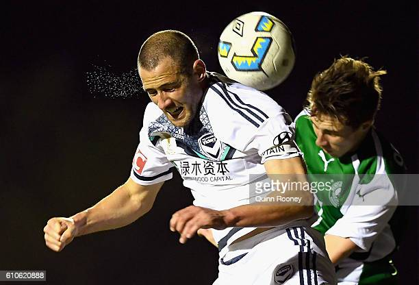 Carl Valeri of the Victory heads the ball during the FFA Cup match between Bentleigh Greens and Melbourne Victory at Kingston Heath Soccer Complex on...
