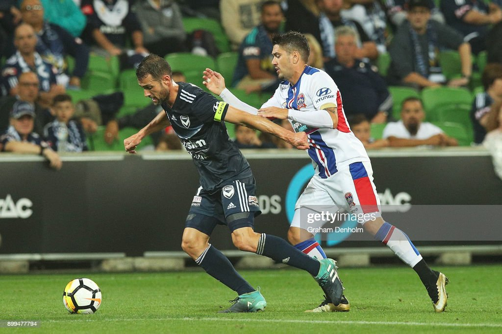 Carl Valeri of the Victory (L) in action during the round 13 A-League match between the Melbourne Victory and the Newcastle Jets at AAMI Park on December 29, 2017 in Melbourne, Australia.