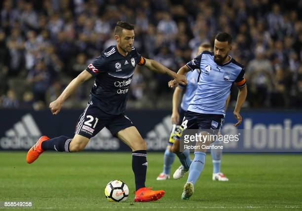 Carl Valeri of the Victory kicks the ball during the round one ALeague match between the Melbourne Victory and Sydney FC at Etihad Stadium on October...