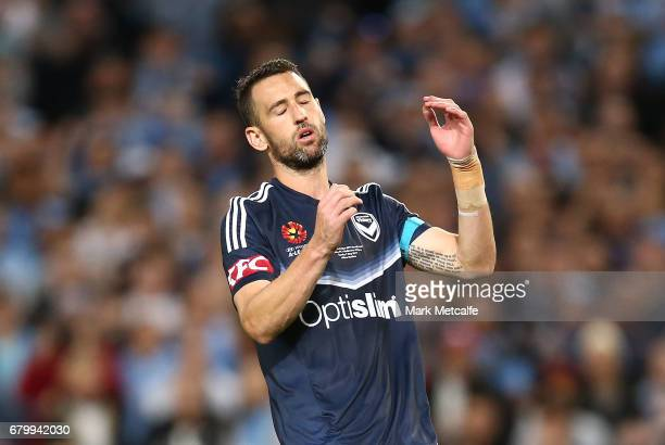 Carl Valeri of the Victory reacts after missing a penalty during the 2017 ALeague Grand Final match between Sydney FC and the Melbourne Victory at...