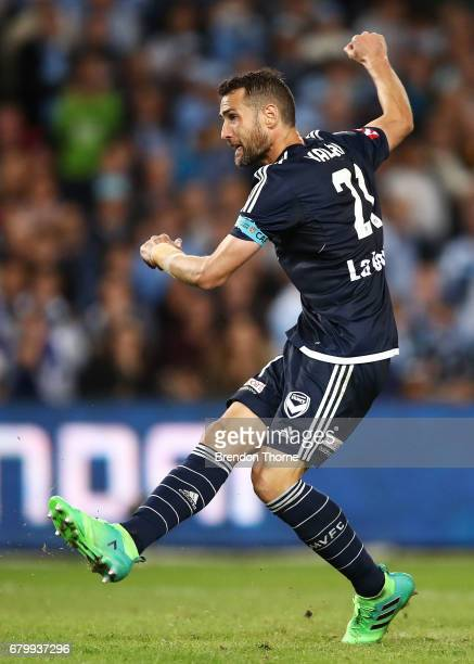 Carl Valeri of the Victory shoots during the 2017 ALeague Grand Final match between Sydney FC and the Melbourne Victory at Allianz Stadium on May 7...