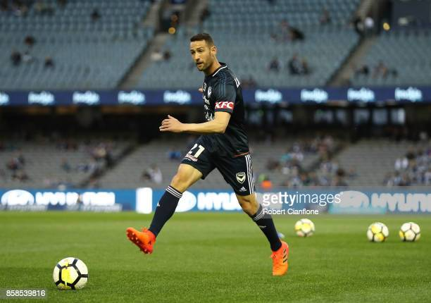 Carl Valeri of the Victory warms up for the round one ALeague match between the Melbourne Victory and Sydney FC at Etihad Stadium on October 7 2017...