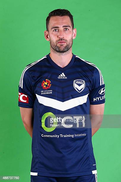 Carl Valeri poses during the Melbourne Victory ALeague headshots session at AAMI Park on September 17 2015 in Melbourne Australia