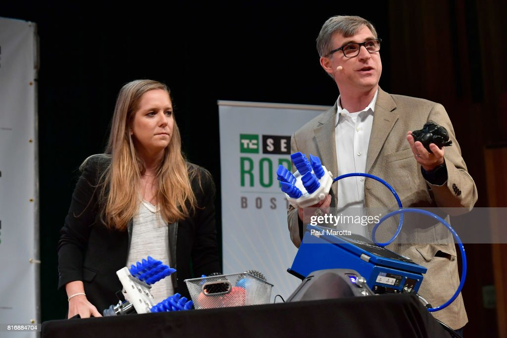 Carl Vause of Soft Robotics gives a demonstration with Jordan Crook at the TechCrunch Sessions: Robotics at Kresge Auditorium on July 17, 2017 in Cambridge, Massachusetts. TechCrunch Sessions: Robotics is a single-day event designed to facilitate in-depth conversation and networking with the technologists, researchers and students of the robotics community as well as the founders and investors and was attended by more than 700 people.