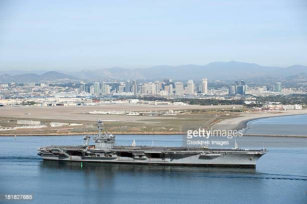 USS Carl Vinson gets underway from Naval Air Station North Island.