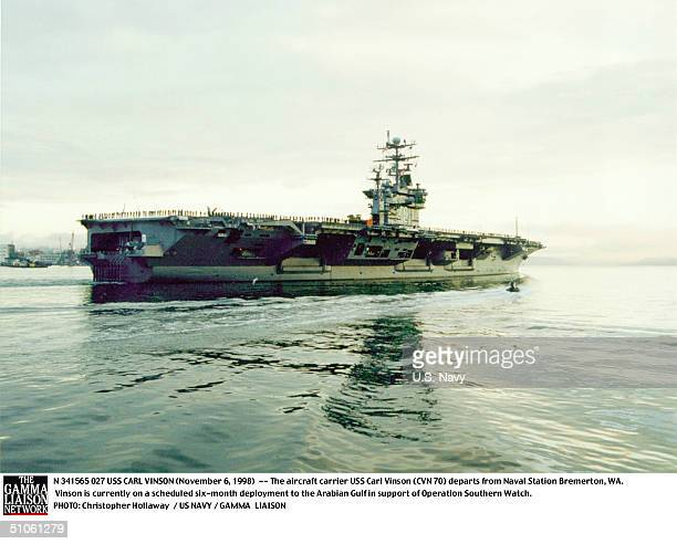 Carl Vinson -- The Aircraft Carrier USS Carl Vinson Departs From Naval Station Bremerton, Wa. Vinson Is Currently On A Scheduled Six-Month Deployment...