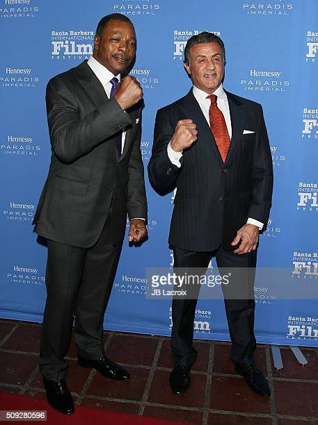 Carl Weathers and actor Sylvester Stallone attend the 31st Santa Barbara International Film Festival on February 9 2016 in Santa Barbara California