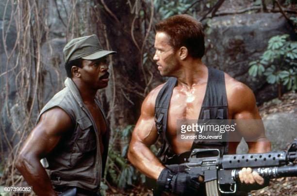 Carl Weathers and Arnold Schwarzenegger on the set of 'Predator'