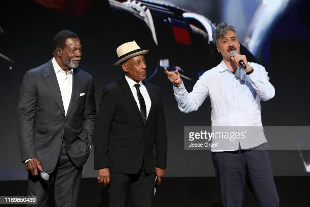 Carl Weathers, Giancarlo Esposito, and Taika Waititi of 'The Mandalorian' took part today in the Disney+ Showcase at Disney's D23 EXPO 2019 in...