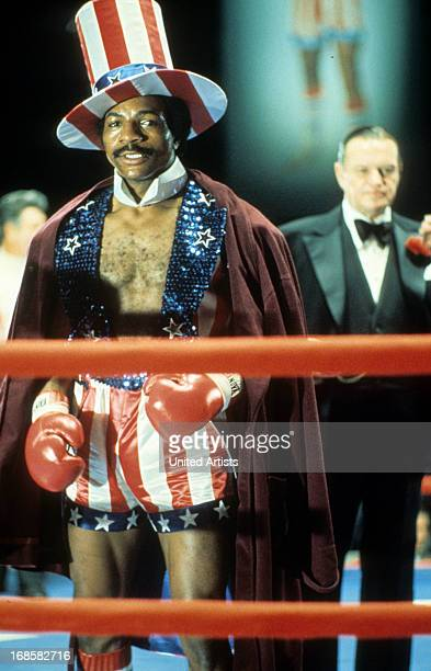 Carl Weathers in the ring in a scene from the film 'Rocky' 1976
