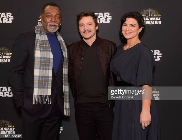 Carl Weathers Pedro Pascal and Gina Carano attend The Mandalorian panel at the Star Wars Celebration at McCormick Place Convention Center on April 14...