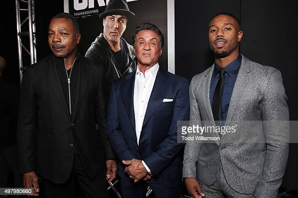 Carl Weathers Producer Sylvester Stallone and Michael B Jordan attend the premiere of Warner Bros Pictures' 'Creed' at Regency Village Theatre on...