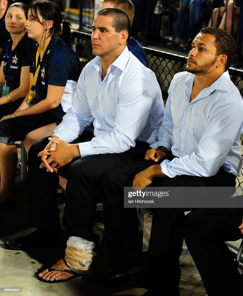 Carl Webb (c) of the Cowboys sits on the sidelines with ice strapped to his ankle after coming off injured during the round seven NRL match between the North Queensland Cowboys and the Parramatta Eels at Dairy Farmers Stadium on April 23, 2010 in Townsville, Australia.