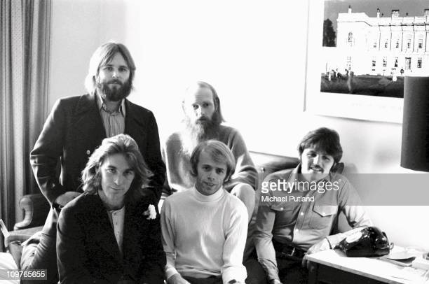 Carl Wilson , Dennis Wilson , Mike Love, Al Jardine and Bruce Johnston of American group the Beach Boys pose backstage in December 1970.