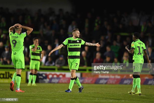 Carl Winchester of Forest Green Rovers reacts after being sent off during the Sky Bet League Two Playoff Semi Final Second Leg match between Forest...