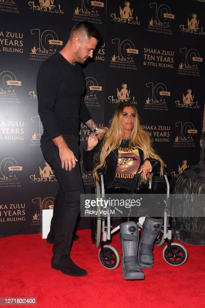 Carl Woods and Katie Price seen at Shaka Zulu's 10th anniversary celebration in Camden on September 10, 2020 in London, England.