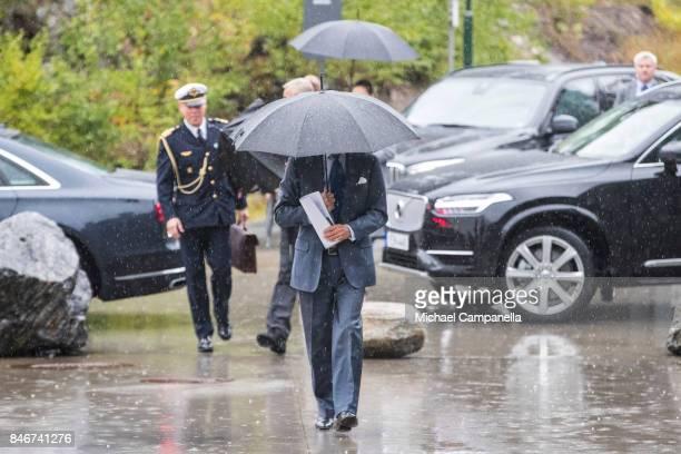 Carl XVI Gustaf of Sweden arrives at the 2017 Stockholm Security Conference at Artipelag on September 14 2017 in Stockholm Sweden