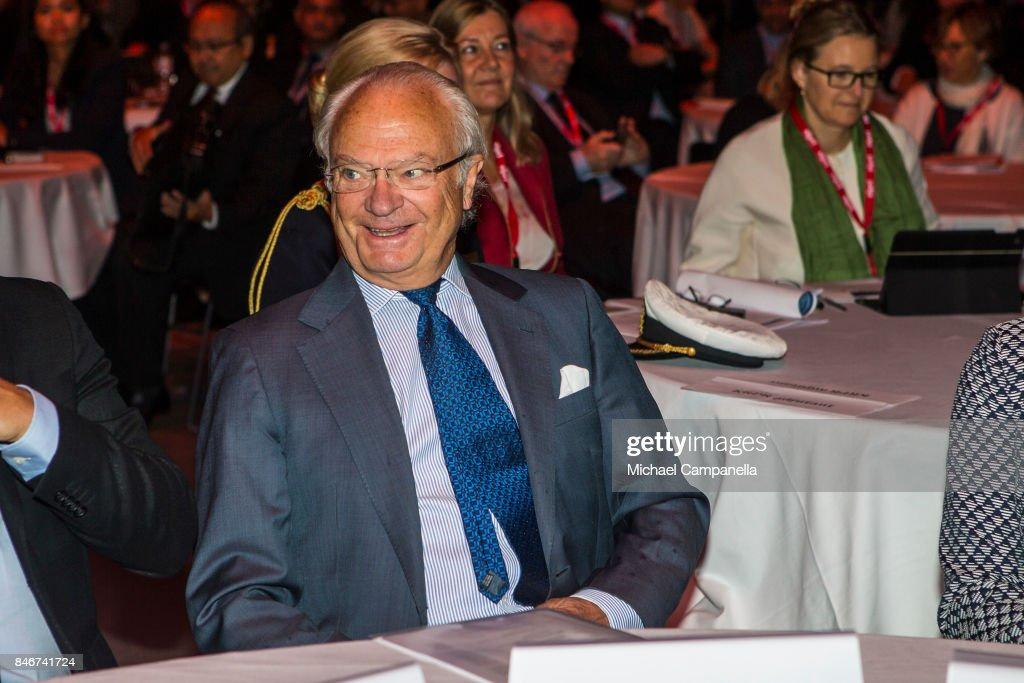 Carl XVI Gustaf of Sweden attends the 2017 Stockholm Security Conference at Artipelag on September 14, 2017 in Stockholm, Sweden.
