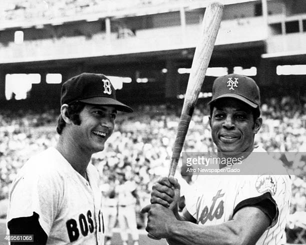 Carl Yastryewski, Boston Red Sox, and Willie Mays, New York Mets, play at the Alwas Tempe Shivaz Benefit Baseball game, Washington, DC, August 14,...