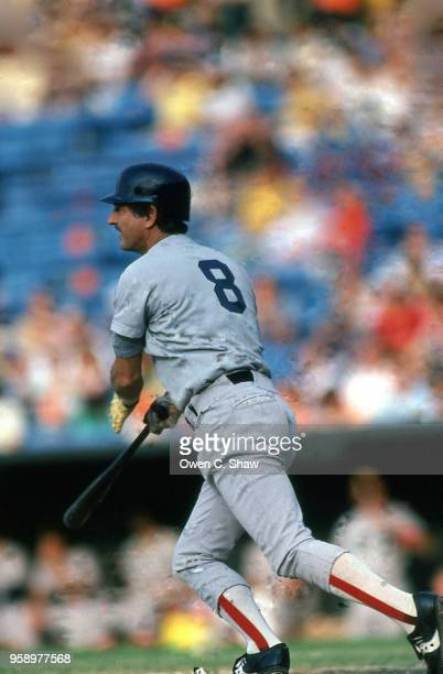 Carl Yastrzemski of the Boston Red Sox bats against the Baltimore Orioles at Memorial Stadium circa 1983 in Baltimore Maryland