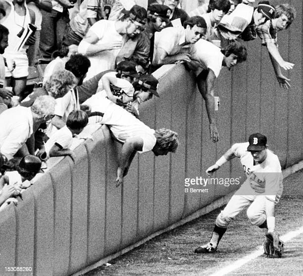 Carl Yastrzemski of the Boston Red Sox fields the ball as fans try to interfere during the game against the New York Yankees on September 3 1979 at...